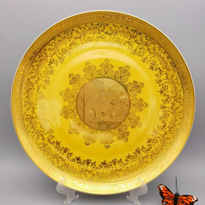 "Vintage D.W. Karlsbader Fairies Gold Gilt Platter 13"""