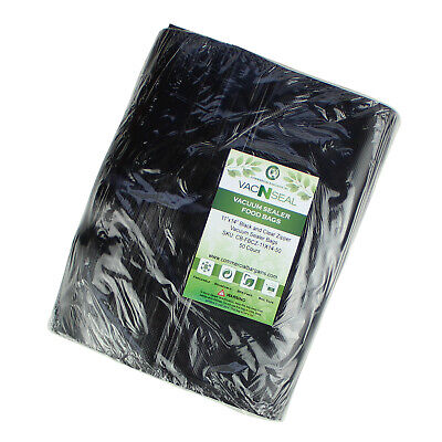 """50CT 11""""x14"""" Black And Clear Vacuum Food Sealer Freezer Bags Sous Vide for sale  Milwaukee"""