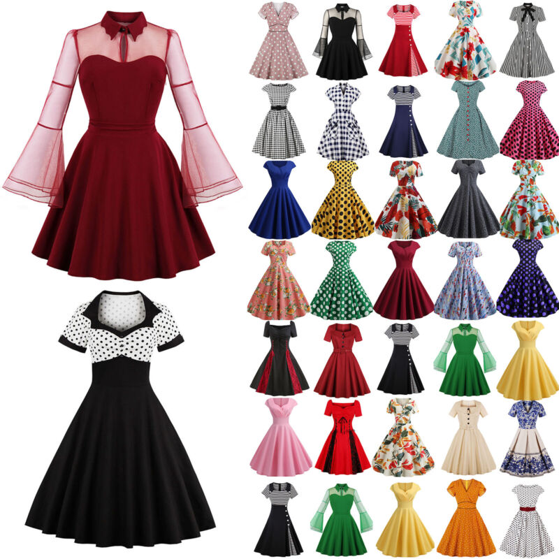 Damen Rockabilly Petticoat Retro Kleid 50er Jahre Vintage Party Kleid Abendkleid