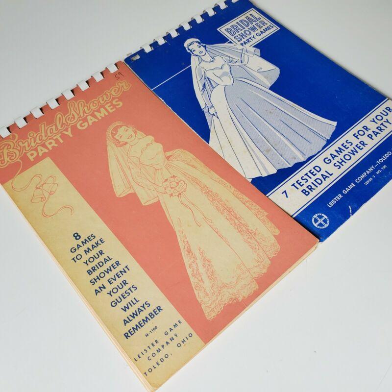 2 Vintage Leister Game Co Bridal Shower Party Games Spiral Bound Books 1946 1957