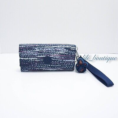NWT Kipling AC8152 RUBI Snap Long Wallet Wristlet Polyester Textured Waves Multi