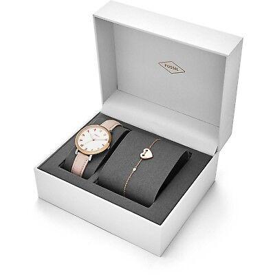 (Fossil Jacqueline Three Hand Pastel Pink Leather Watch Bracelet Set ES4351SET)