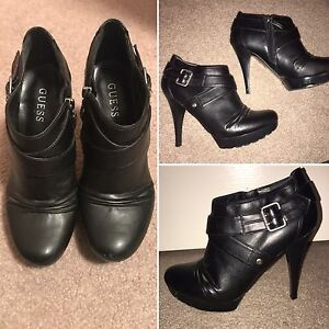 8.5 black leather Guess stiletto ankle boots
