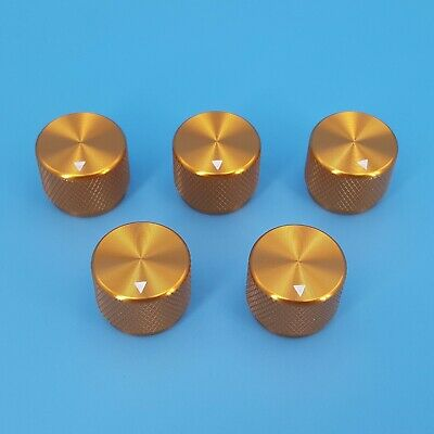 5pcs Golden 20 X 15.5mm Aluminum Alloy 6mm Dia Rotary Control Potentiometer Knob