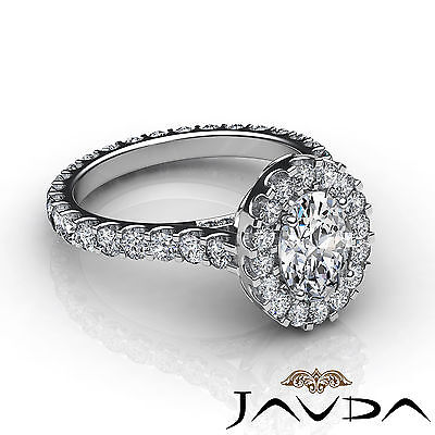 2.5 ct Oval Diamond Engagement 14k White Gold F VS2 Clarity GIA Halo Pave Ring 3