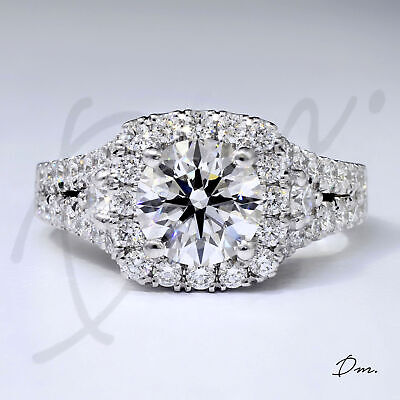 Natural 2.60 Tcw Round Cut Halo Split Shank Diamond Engagement Ring H  VS2- GIA