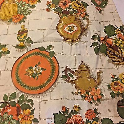 Vtg MCM 2 Panels Cotton Fabric Curtains Drapes JC PENNEY Teapot Pitcher Flowers