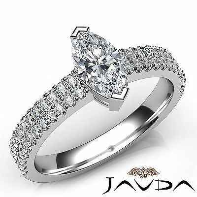 French U Pave Marquise Diamond Engagement Ring GIA Certified F Color VVS2 1 Ct