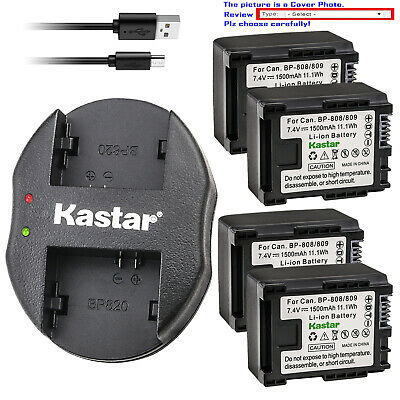 Kastar Battery Oval USB Charger for Canon BP-809 BP819 BP-827 & Canon CG-800