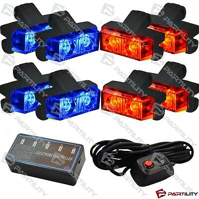16 Led Red Blue Light Grill Emegency Utility Warning Strobe Flash Hazard