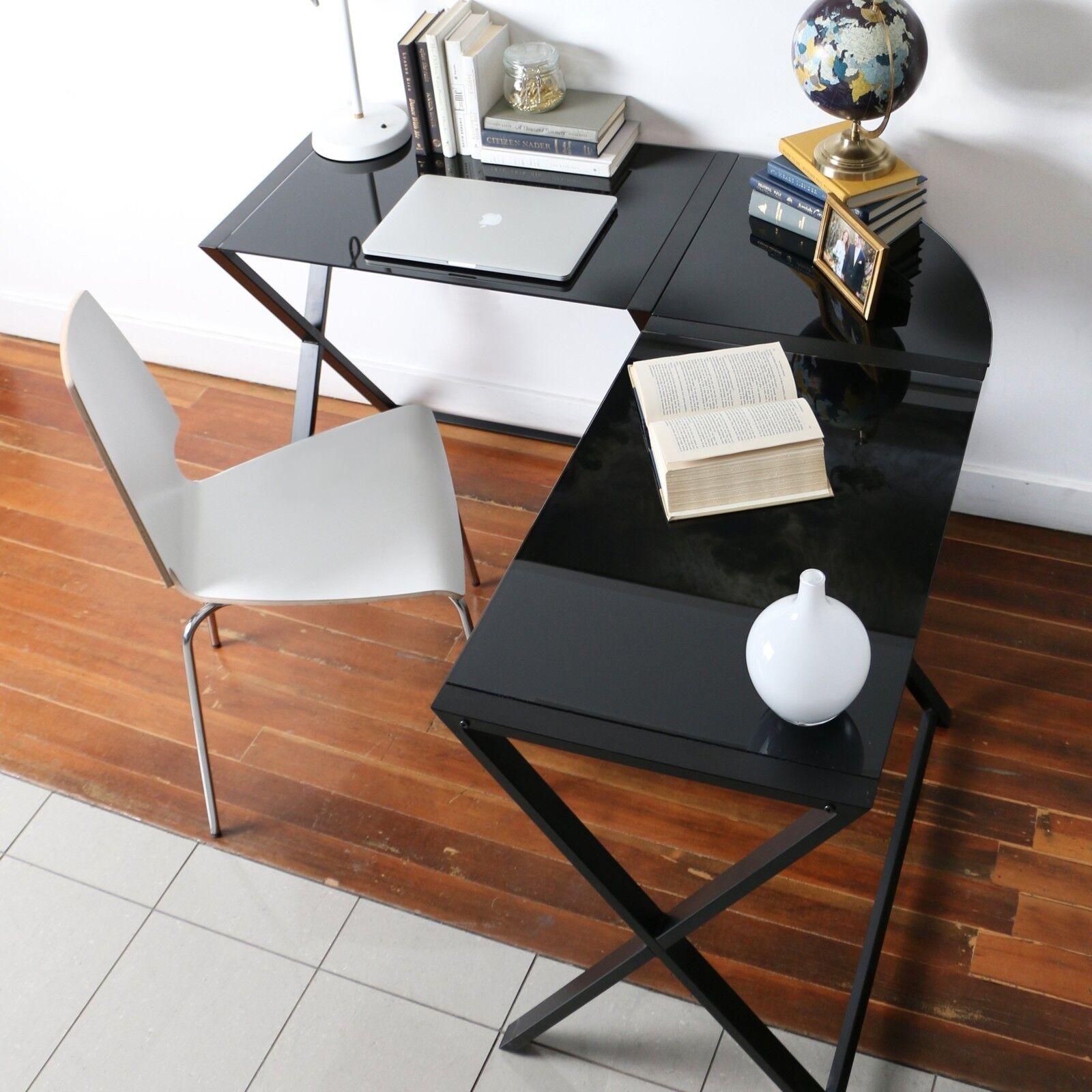 Details about Glass Corner Computer Desk Black For Small Space L Shape  Modern under 100 Dolla