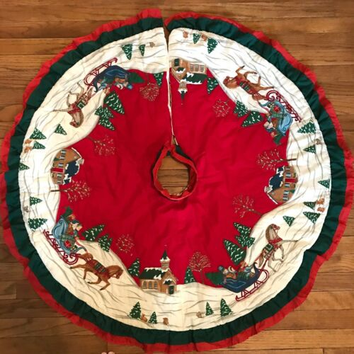"""Large Quilted Ruffled Christmas Tree Skirt 44"""" Round One Horse Open Sleigh Red"""