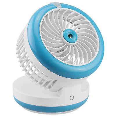 kazoj 2in1 USB Akku Mini Ventilator mit Sprühnebel Funktion in hellblau Blau Usb Mini