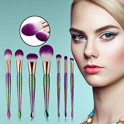 7 pcs Mermaid Beauty Makeup Brush Eyebrow Foundation Powder Cosmetic Brush Set