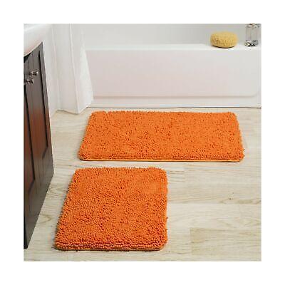 Lavish Home 2 Piece Memory Foam Shag Bath Mat-Orange Orange ()