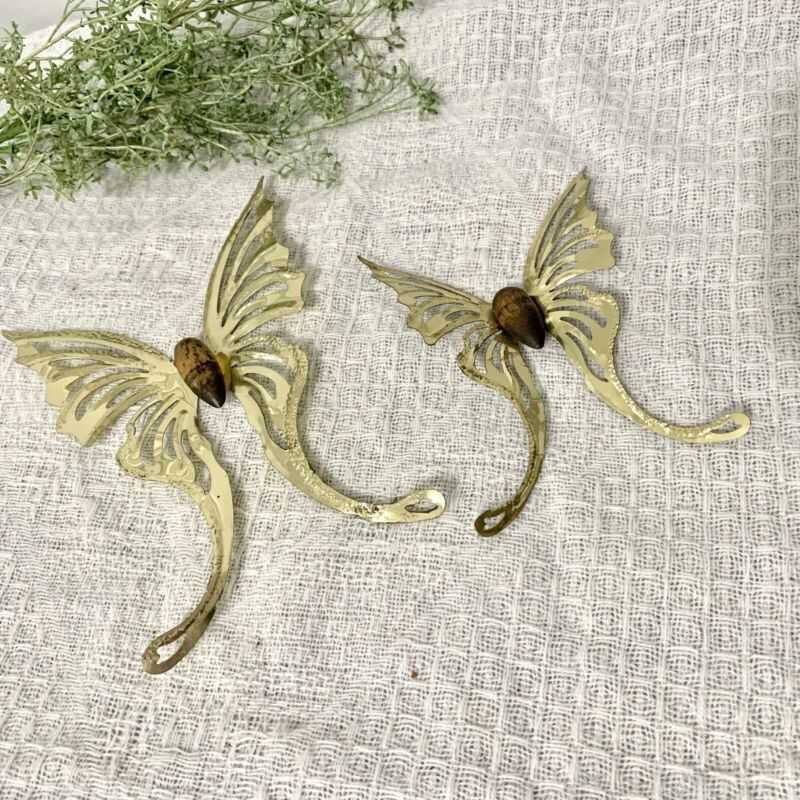 Vintage Brass Tin Butterfly Wall Decor Home Interiors Gold Metal Set Of 2