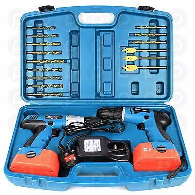 Powerlynx 18V Twin Cordless Drill Set Heavy Duty Power Hammer Impact Driver