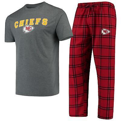 Kansas City Chiefs Pajamas Troupe Shirt And Pants Sleepwear 2-Piece -