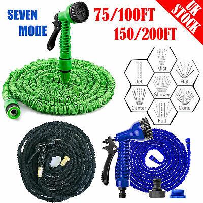Long Expandable Magic Garden Hose Pipe Flexible 75 100 150 200 FT & Spray Gun UK