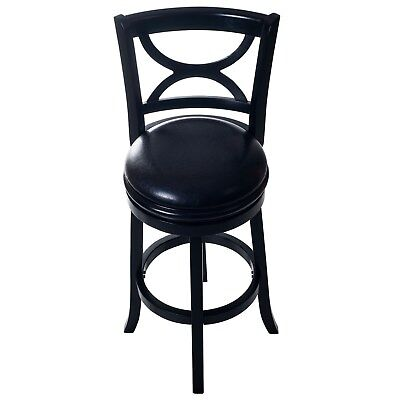 High Quality Vinyl Wooden Swivel Bar Stool with Back 29 Inch Seat Height