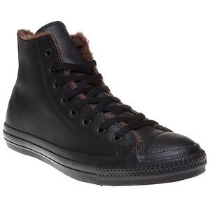 New-Mens-Converse-Black-All-Star-Hi-Leather-Trainers-Canvas-Lace-Up