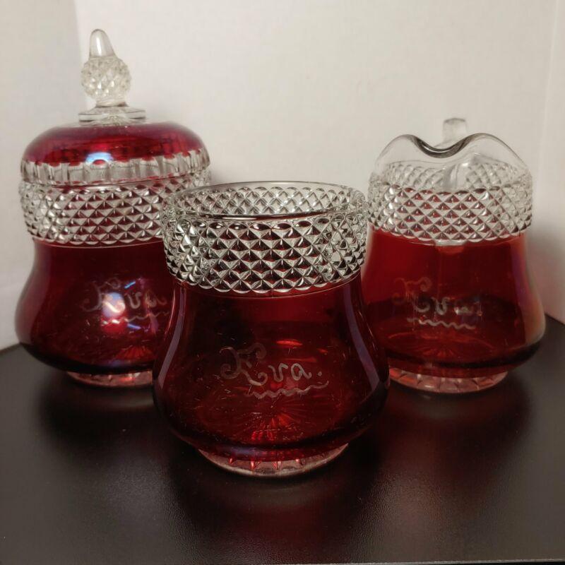 Souvenir, EVA ruby flash glass table condiment set, antique