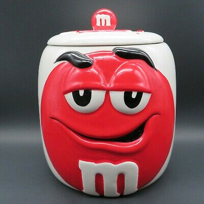 Ceramic RED M&M Candy Cookie Jar Canister with Lid Collectors Series