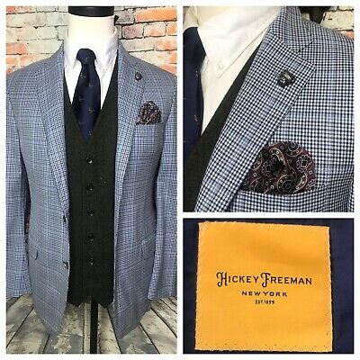 Hickey Freeman Traveler Blue Glen Plaid Sport Coat Jacket Mens Size 40 Regular