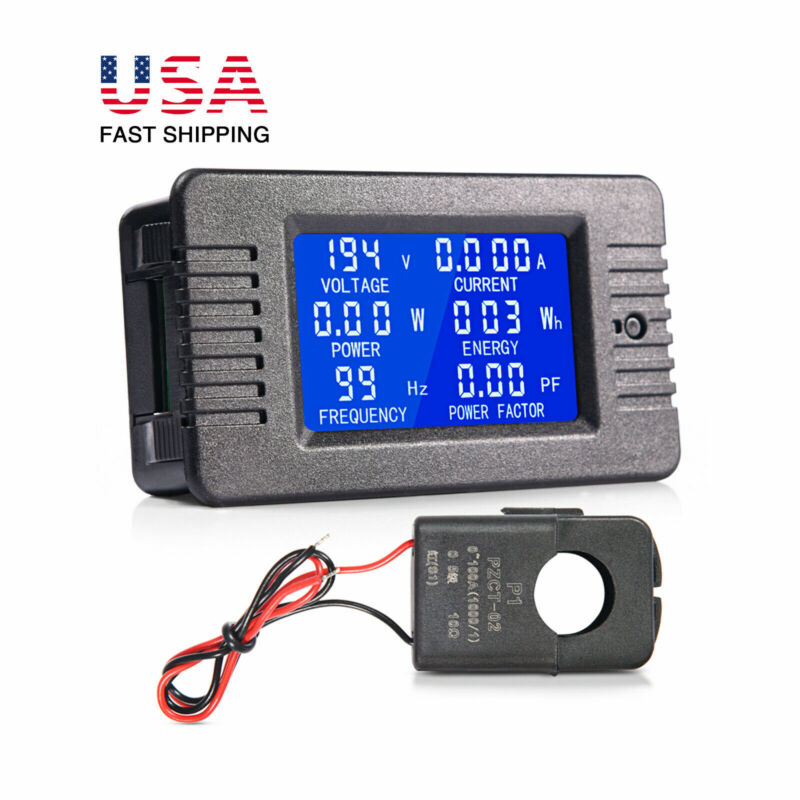 80-260V LCD Display AC Voltmeter 100A Current Meter Power Battery Monitor Panel