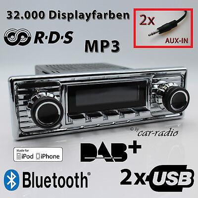 Retrosound San Diego DAB+ Komplettset Chrome Oldtimer Radio USB MP3 Bluetooth Iphone Ipod Nano Mp3