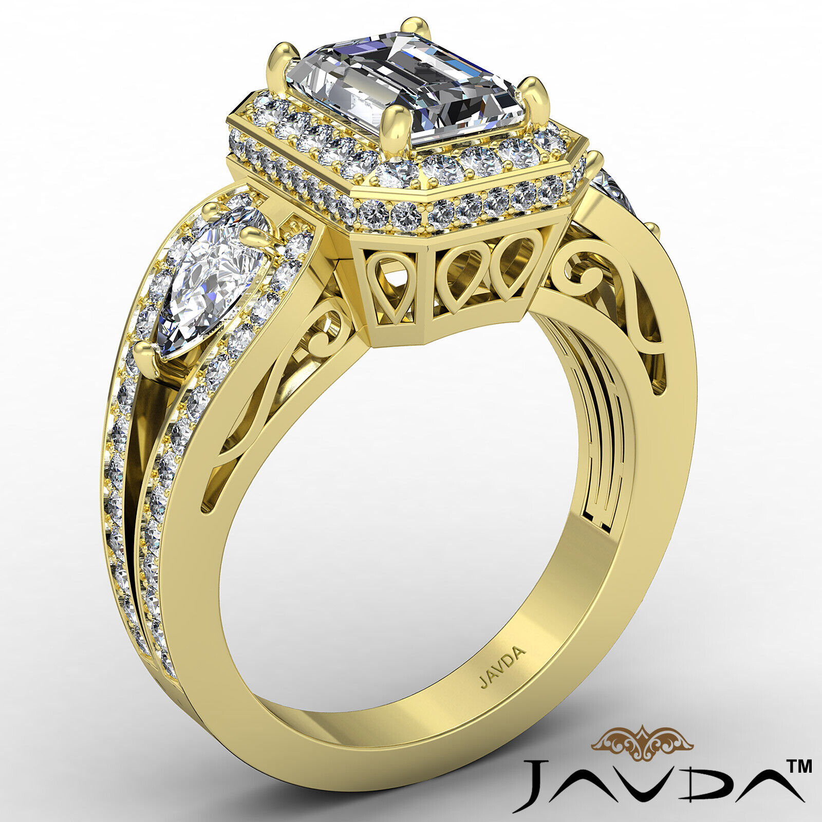 Halo Emerald Diamond Engagement Ring GIA Certified J Color & VS2 clarity 2.85ctw 4
