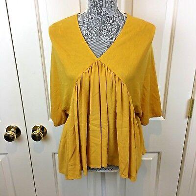 Zara Tunic Blouse Shirt Hi Lo Pleated Collarless Yellow Mustard Size M 6 8 Boho