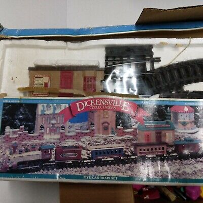 New Bright Vintage Village Express Christmas Train Set damaged Box