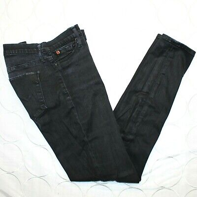 Hudson Womens Nico Super Skinny Jeans 27 Black Coated Legging Mid Rise WM407TIP