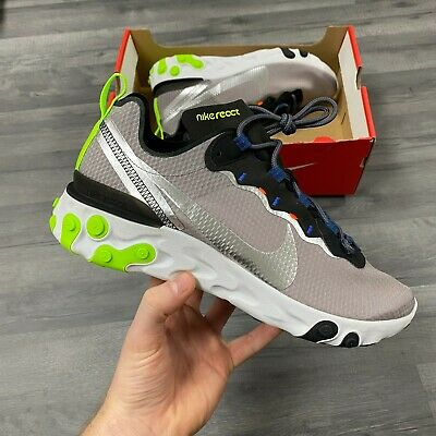 NIKE REACT ELEMENT 55 SE GREY TRAINERS SHOES SIZE UK9 US10 EUR44...