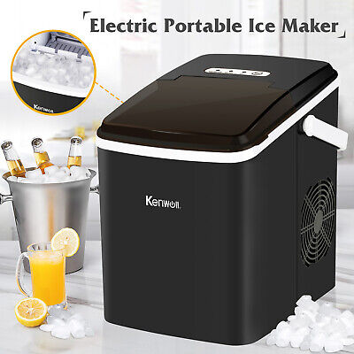 Electric Ice Maker Portable Compact Machine Cube Countertop 26lbs Day Black