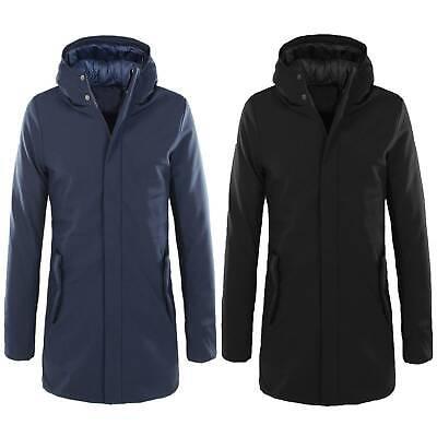 Parka Uomo Invernale Giubbotto Lungo Blu Nero Impermeabile Cappotto Giaccone
