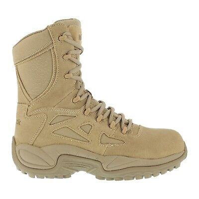 Reebok Men's Tactical Military Desert Tan Stealth Boots 8 Inch Side Zip Soft Toe Desert Stealth 8' Tactical Boot