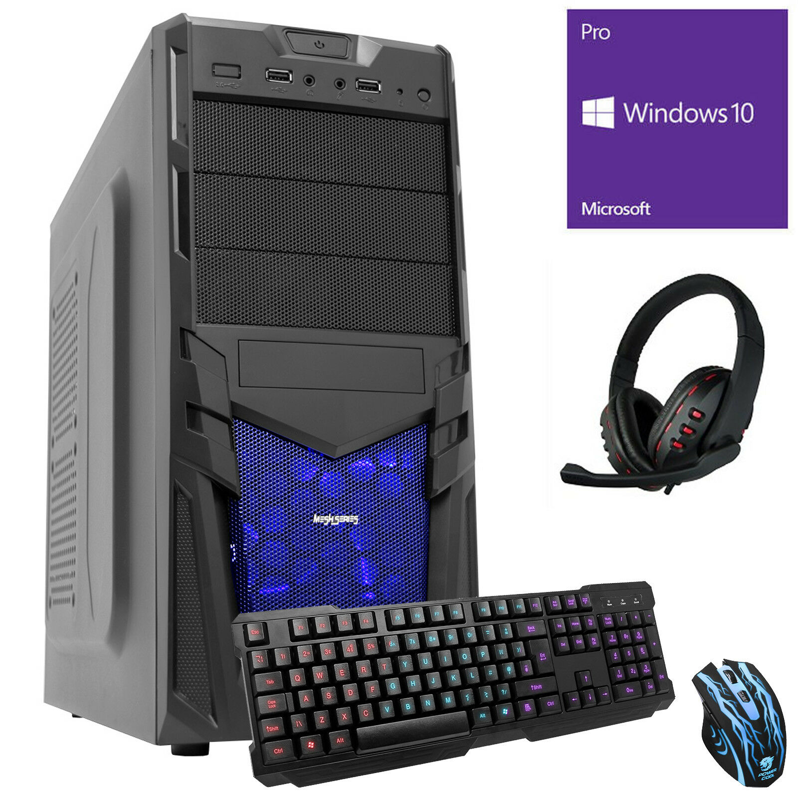 Computer Games - ULTRA FAST 3.9 QUAD CORE 8GB 1TB Desktop Gaming PC Computer Bundle9 Windows 10 V