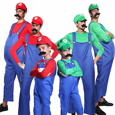 Men Boys Super Mario Luigi Bros Workmen Plumber Uniform Carnival Fancy Dress - Luigi Costume Men
