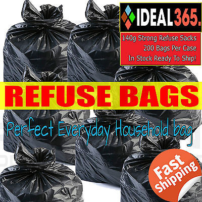 Bin Bags 200 Heavy Duty Great Britain Made Black Refuse Sack/Bin Liner Bags