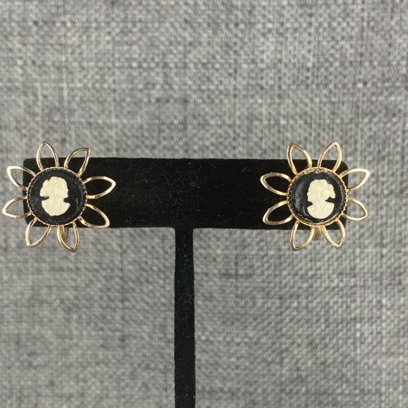 Vintage Black & White Cameo W/ Gold Screw Back Earrings