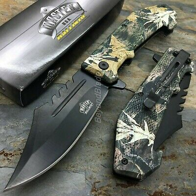 Camo Swat Style Spring Assisted Survival Camping Rescue Pocket - Swat Rescue Knife