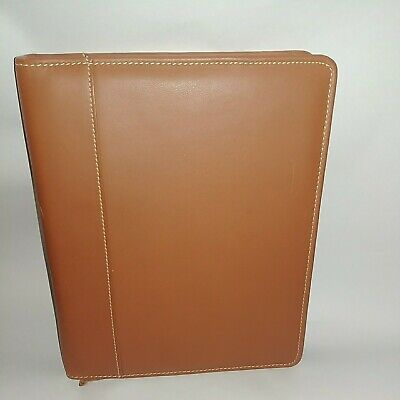 Collins Personal Organizer Portfolio Leather Tan 7 Rings 8 X 10 Inches
