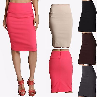 MOGAN S~3X Slim! High Waist PENCIL STRETCH KNEE SKIRT Sleek Dress Suiting skirt