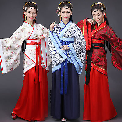 Chinese Han Dynasty Ruqun Hanfu Suit Cosplay Women Long Sleeve Dress Costume