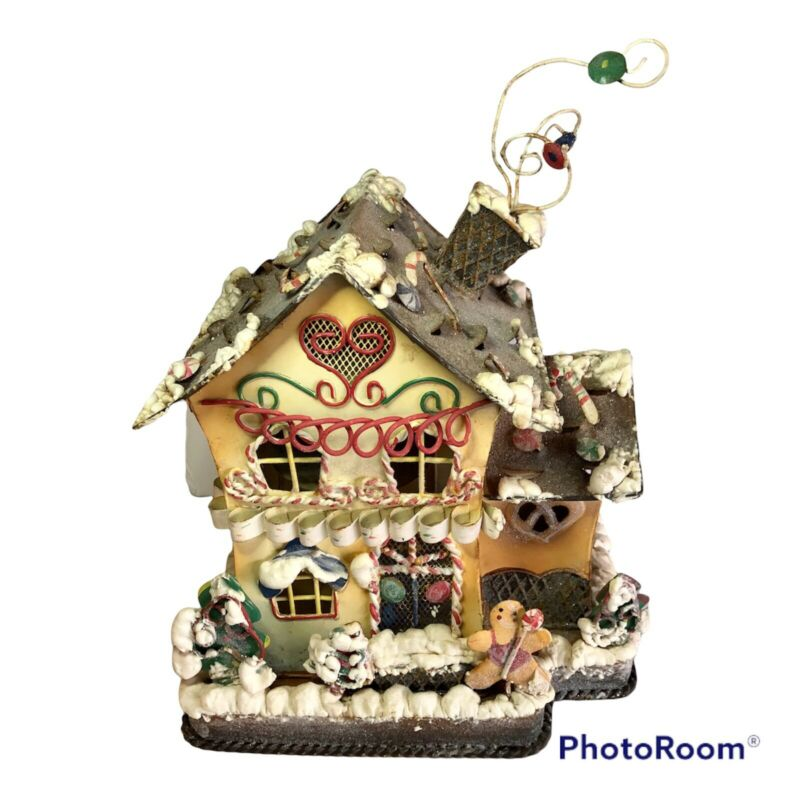 Votive Candle Holder Gingerbread House Home Interiors Christmas Holidays Metal