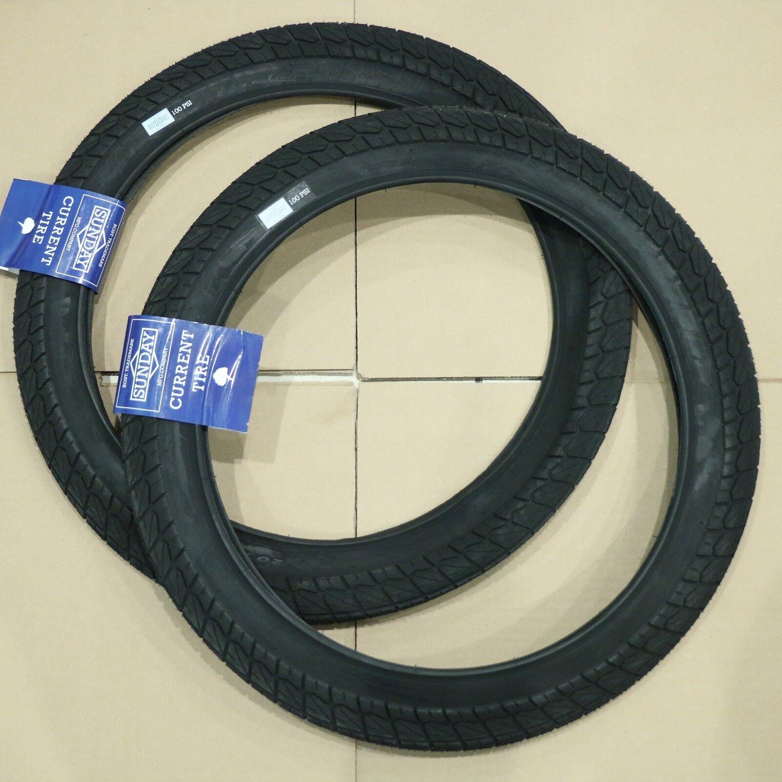 "PAIR OF SUNDAY BMX BIKE CURRENT TIRES BLACK 20 x 2.40"" PRIMO"