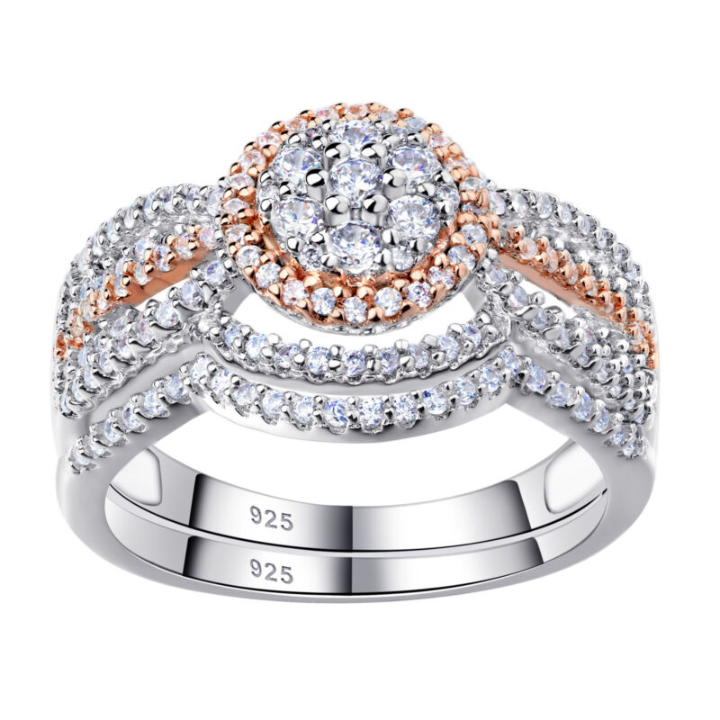 Wedding Engagement Ring Set For Women Round Sterling Silver Rose Gold Aaaa Cz