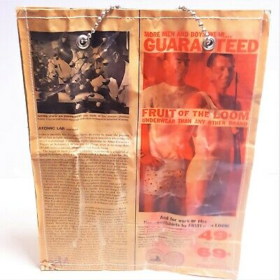 1940s Handbags and Purses History 1940's-1950's Vintage NYC Coated Newsprint Shopper Tote Bag Double Chain Strap $69.99 AT vintagedancer.com